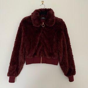 EXPRESS Wine Faux Fur Cropped Jacket